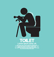 Elderly With Walking Stick Toilet Sign vector image
