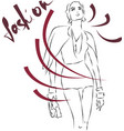 fashion sketch of young beautiful girl in jacket vector image