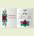 greeting card with stylized roses and floral vector image vector image