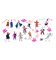 group of happy men and women dressed in festive vector image vector image