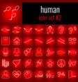 human icon set 2 white line icon on red gradient vector image