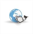 Internet earth globe with mouse hand and shopping vector image vector image