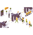 isometric people at airport hand luggage security vector image