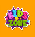 kids zone bubble sticker playroom decoration vector image