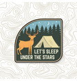 let s sleep under stars summer camp badge vector image