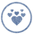 lovely hearts rounded fabric textured icon vector image vector image