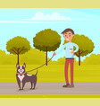 man is walking with dog in summer park guy holds vector image vector image