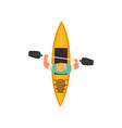 man rafting in kayak in sea or river kayaking vector image