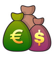 money bag icon flat style vector image vector image