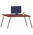 monitor without wires on table isolated on vector image