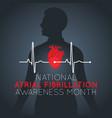 national atrial fibrillation awareness month logo vector image vector image