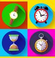 old vintage hourglass alarm clock stopwatch vector image vector image