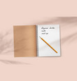 open realistic notebook with pencil on abstract vector image vector image