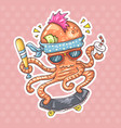 punk octopus on a skateboard vector image vector image