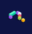 question mark isometric colorful cubes 3d design vector image