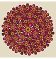 Round floral ornament like bouquet of red flowers vector image