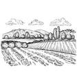 rural landscape handdrawn inked sketch style vector image