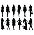 set beautiful fashion girl silhouette vector image vector image