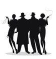 silhouettes of two men and two flapper girls 20s vector image vector image