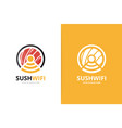 sushi and wifi logo combination japanese vector image