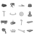 Timber industry icons set black monochrome style vector image vector image