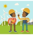 Two black workers talking infront of windmills vector image vector image