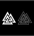 valknut symbol icon set white color flat style vector image vector image