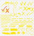 yellow highlighter marker strokes vector image vector image