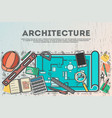 architecture top view banner in line art style vector image