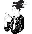 Sushi woman vector image