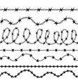 barbed wire black silhouettes pattern brush vector image