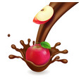 apple realistic in chocolate vector image vector image