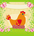 background with easter eggs and one hen vector image vector image