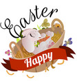 basket decorated easter eggs on green grass vector image