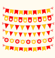 Bunting set red and yellow scrapbook design vector image vector image