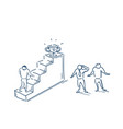 businesspeople team hard working walking up stairs vector image