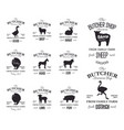 butcher american shop labels design set with vector image vector image