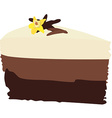 Chocolate cake with vanilla vector image