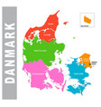 colorful danmark administrative and political map vector image vector image