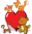 cute animals cartoon with valentines heart - fox vector image vector image