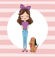 cute girl with dog cartoon vector image