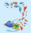 delicious set of sea food in dish vector image