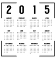 european black and white 2015 year calendar vector image