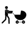 father with pram icon vector image vector image