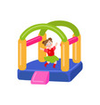 flat bouncy inflatable castle and girl vector image vector image