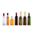 glass bottle mockup set vector image