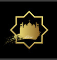 gold ramadan kareem with mosque geometry vector image vector image