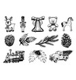 hand drawn of christmas toys vector image vector image