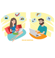Happy woman and happy man doing online shopping at vector image vector image