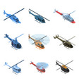 helicopter icon set isometric style vector image vector image